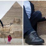 Самый высокий мужчина и самая маленькая женщина в мире встретились возле пирамид