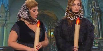 Рублевские жены в церкви. Я под столом от смеха