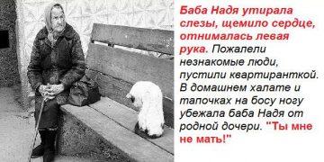 Баба Надя утирала слезы. В домашнем халате и тапочках на босу ногу убежала баба Надя из дома от родной дочери… «Ты мне не мать!»