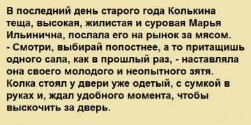 В последний день старого года Колькина теща, высокая, жилистая и суровая Марья Ильинична, послала его на рынок за мясом.
