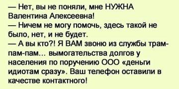 Сижу дома, никого не трогаю, звонок: — Здраствуйте, мне нужна Валентина Алексеевна. — Номером ошиблись…
