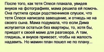 – Почему моя мать завещание на тебя написала? Ведь у нее я есть, и внуки. – спрашивает двоюродный брат