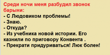 Среди ночи меня разбудил звонок барыни: — С Людовиком проблемы! — Знаю. — Откуда?