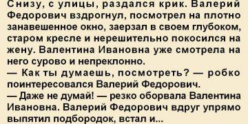 Снизу, с улицы, раздался крик. Валерий Федорович вздрогнул, посмотрел на плотно занавешенное окно, заерзал