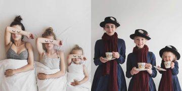 Креативные фото от мамы и её двух дочерей
