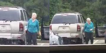 Бабуля не догадывалась, что ее снимает видеокамера.