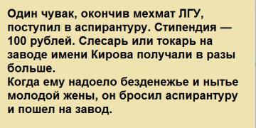 История из жизни советских математиков. Один чувак, окончив мехмат ЛГУ, поступил в аспирантуру…