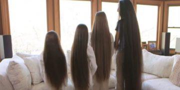 Мама и 3 дочери никогда в жизни не стригли волосы.